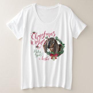 Camiseta Plus Size A cabra do bebê dos desejos do Natal da CABRA |