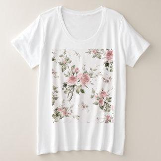Camiseta Plus Size Chique, chique francês, vintage, floral, rústico,