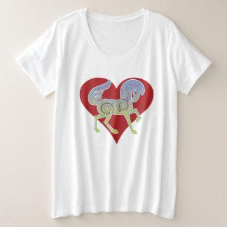 Camiseta Plus Size Coração 2017 de Runequine do modo do vison mais o