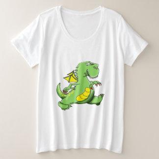 Camiseta Plus Size Dragão verde dos desenhos animados que anda em