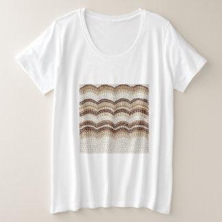 Camiseta Plus Size Mulheres bege do mosaico mais o t-shirt do tamanho