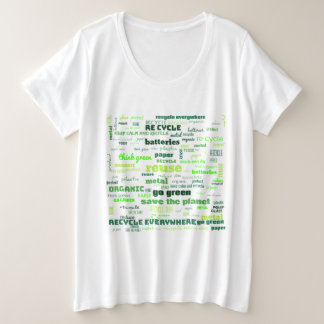Camiseta Plus Size Reduza, reúso, recicl a nuvem da palavra