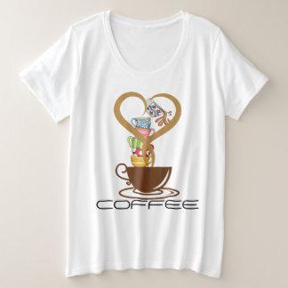 Camiseta Plus Size T-shirt básico do Mais-Size das mulheres do café