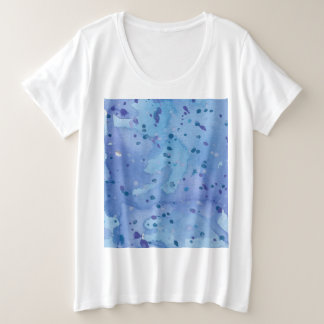 Camiseta Plus Size Watercolour azul Splat