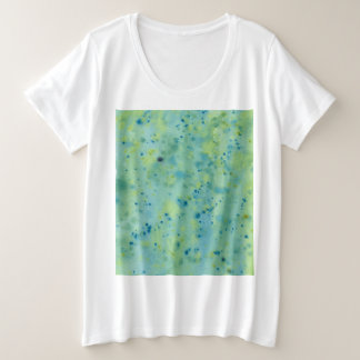 Camiseta Plus Size Watercolour azul & verde Splat