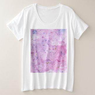 Camiseta Plus Size Watercolour de mármore cor-de-rosa Splat