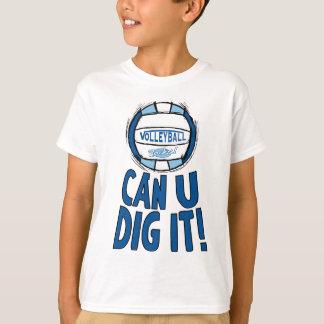 Camiseta Pode a escavação de U ele Lt azul Azul do voleibol
