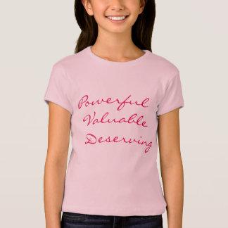 Camiseta Poderoso, valioso, merecendo - rosa das meninas