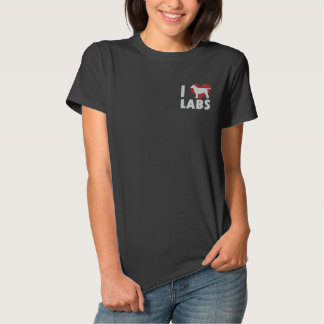 Camiseta Polo Bordada Eu amo a camisa bordada laboratórios (o polo)