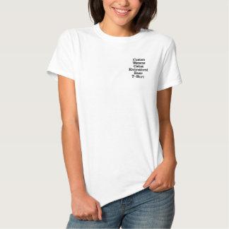Camiseta Polo Bordada O t-shirt básico bordado algodão das mulheres