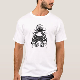 Camiseta Polvo Kraken do Victorian de Steampunk do mergulho