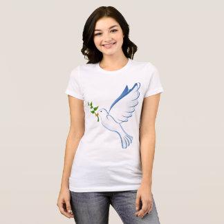 Camiseta Pomba crescente do branco