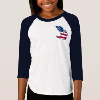 Camiseta Pomba da paz. T-shirt patrióticos do design dos