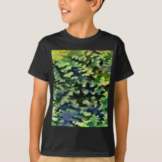 Camiseta Pop art abstrato da folha em verde e no azul