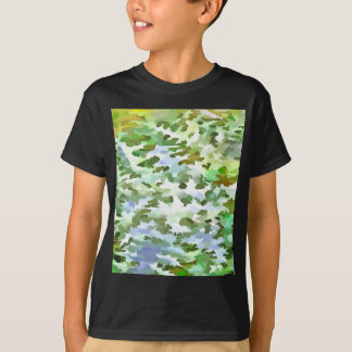 Camiseta Pop art abstrato da folha no verde branco e no pó