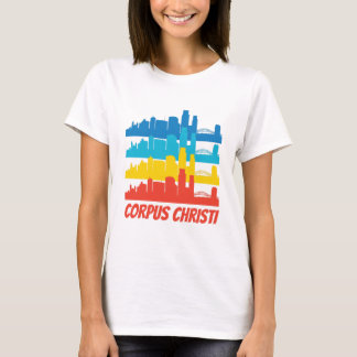 Camiseta Pop art retro da skyline de Corpus Christi TX