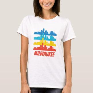 Camiseta Pop art retro da skyline dos WI de Milwaukee