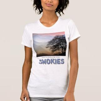 Camiseta Por do sol fumarento da montanha do Parkway azul