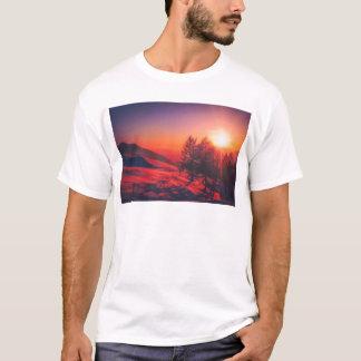 Camiseta Por do sol nevado da noite