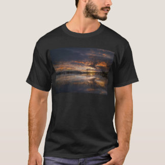 Camiseta Por do sol no porto em Anacortes em Washington EUA