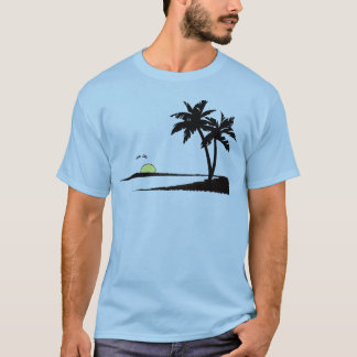 Camiseta por do sol tropical do verão