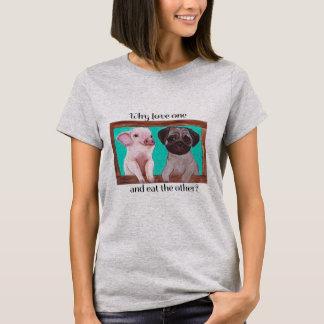 Camiseta Por que o amor um e come o outro? Tshirt do Vegan