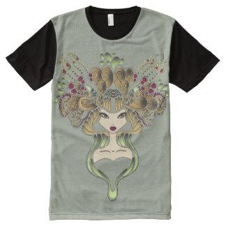Camiseta Com Impressão Frontal Completa Camiseta por todo o lado no clair do caqui de