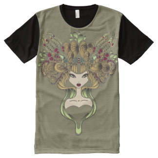 Camiseta Com Impressão Frontal Completa Camiseta por todo o lado no foncé do caqui de