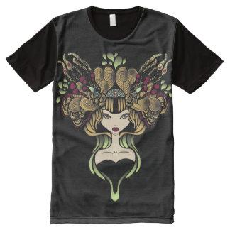Camiseta Com Impressão Frontal Completa Camiseta por todo o lado no preto de Mélusine