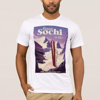 Camiseta Poster de viagens do esqui de Sochi Rússia