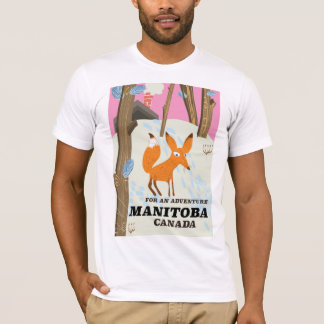 Camiseta Poster de viagens do estilo do vintage de Manitoba