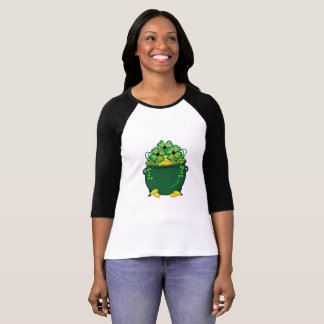 Camiseta Pote de trevos de W do ouro 3/4 de t-shirt do