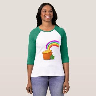 Camiseta Pote do t-shirt da luva das canvas 3/4 de Bella do