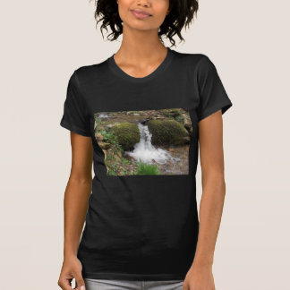 Camiseta Pouca cachoeira por rochas mossy na floresta