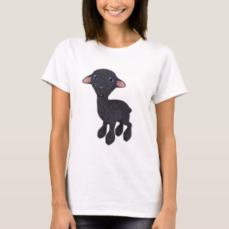 Camiseta Pouco cordeiro preto dos desenhos animados