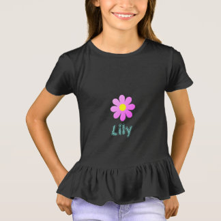 Camiseta Pouco Girls'_ Cool-Pink-Flower_Name Template_