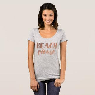 Camiseta praia cor-de-rosa da caligrafia do ouro por favor