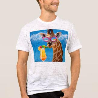 Camiseta Praia do girafa - girafa engraçado