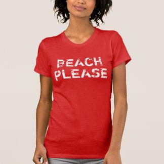 Camiseta Praia do vintage das mulheres por favor