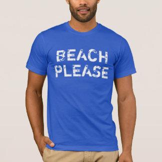 Camiseta Praia do vintage dos homens por favor em azuis