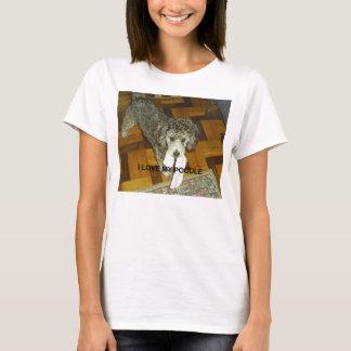 Camiseta prata do PIC de w do amor da caniche