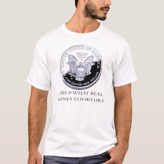 Camiseta Prata: T-shirt real do dinheiro