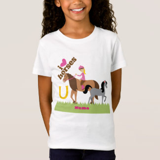 Camiseta Presente bonito dos cavalos do amor das meninas