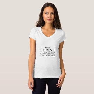 Camiseta Presente do assado do churrasco engraçado eu bebo