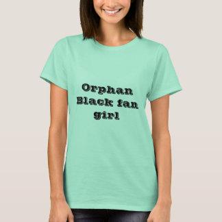 Camiseta preta órfão da menina do fã