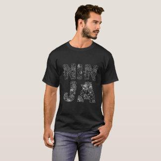 Camiseta Preto decorativo original do texto de Ninja