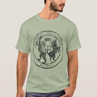 Camiseta Preto do logotipo do serviço MI-6 secreto afligido