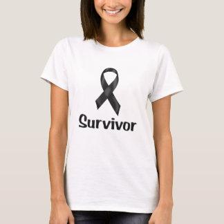 Camiseta Preto do sobrevivente de câncer