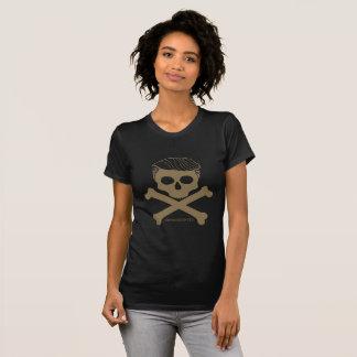 Camiseta Preto do t das senhoras com logotipo do ouro