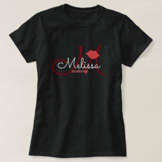 Camiseta preto do uniforme do nome do salão de beleza da
